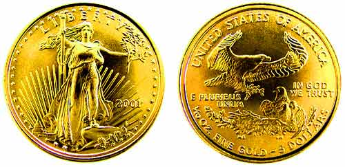 2001 5 Dollars 1/10 Oz. Fine Gold Coin Won by Primo