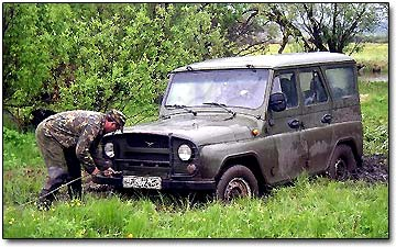 Attaching the Winch Cable to Off-Road Vehicle