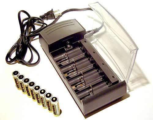8-Cell Battery Charger Allows To Charge AA, AAA, C, and D Types of Batteries