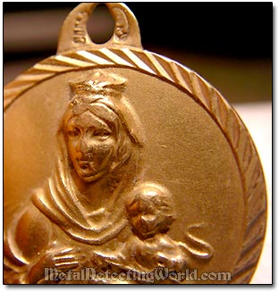 Gold Religious Church Medallion Found with White's XLT on Pacific Ocean Beach