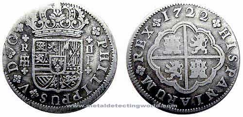 1722 2 Reales Silver Coin, Philip V