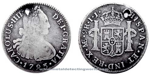 1793 2 Reales Silver Coin, Carolus IV, Portrait Type