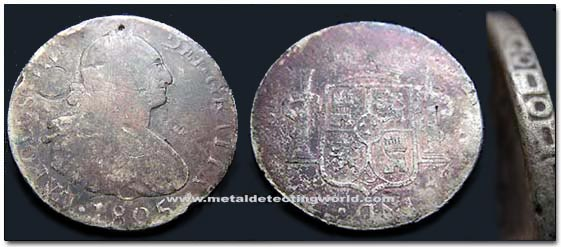 1805 8 Reales (Piece of Eight) Copper Coin, Carlos IV Spain