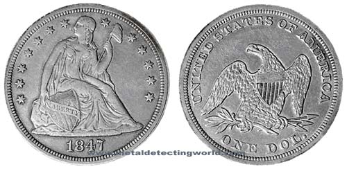 Dollar Seated Liberty Heraldic Eagle