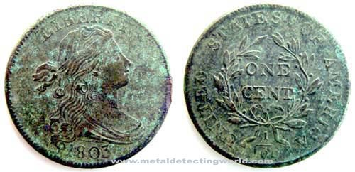 1803 Large Cent Draped Bust Style2 Hair