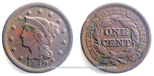 1849 Large Cent Mature Head