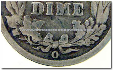 Barber Dime Mint Mark Location