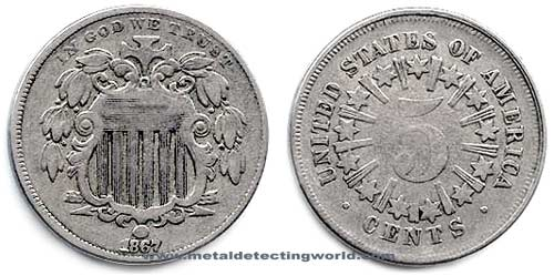 Shield Nickel 5 Cents with Rays