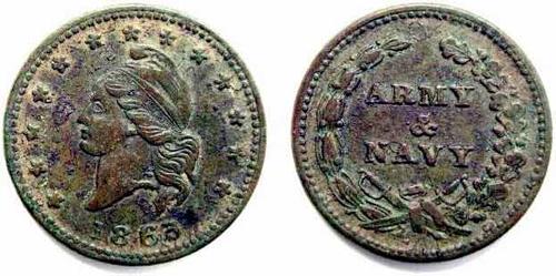 17- 1863 patriotic army and navy token