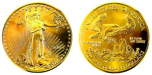 1/2 ounce 2002 American Eagle ($25) Gold Coin