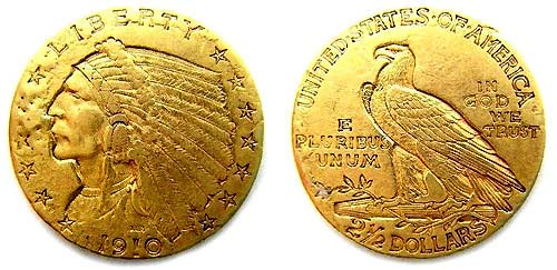 1910 Quarter Eagle ($2.50) Gold Coin