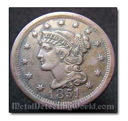 1851 Large Cent Braided Hair/Mature Head