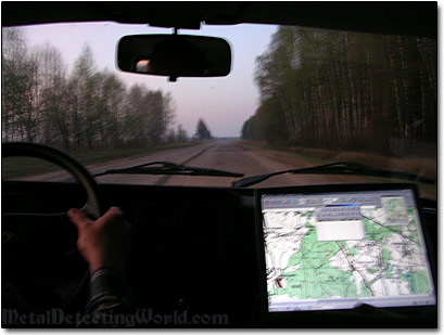 Driving with GPS Laptop Navigator