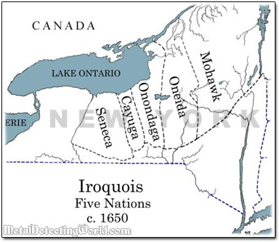 Iroquois 5 Nation Map 1650