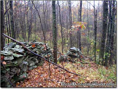 Old Stone Wall Through Forest