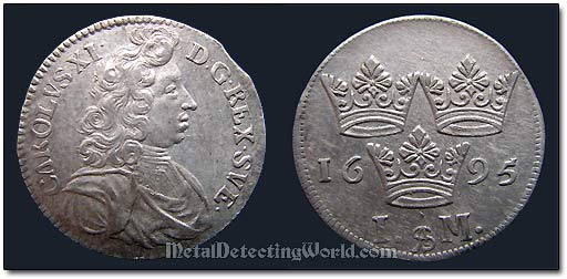 Sweden 1695 1 Mark Coin Karl XI