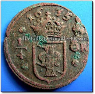 1635 1/4 Ore Coin Requires No Cleaning