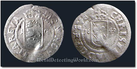 Swedish Silver 1649 1 Ore Coin Minted in Reval Tallinn