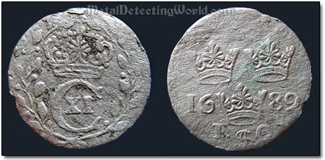 Swedish 1689 1 Ore, King Carl XI