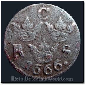 Another Swedish 1666 1/6 Ore Coin Was Recovered