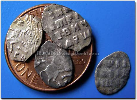 Comparing Size of American One Cent to Sizes of Russian Wire Silver Hammered Coins of Tsar Peter I