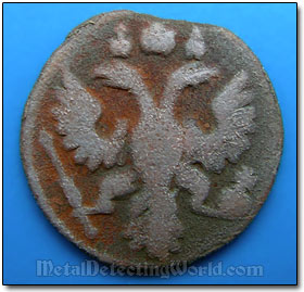 Reverse of Russian Imperial Coin Polushka with Two-Headed Eagle