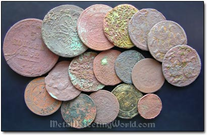 Metal Detected Copper Coins in Very Poor Condition