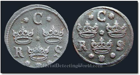 Obverse Designs of 1/4 Ore Swedish Coins