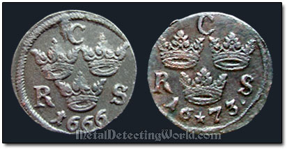 Reverse Designs of Swedish 1/6 Ore Coins