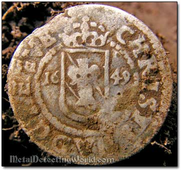 Obverse of 1649 1 Ore Silver Coin
