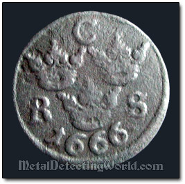 Swedish 1666 1/6 Ore Coin Obverse