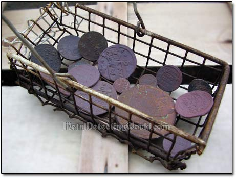 Coin Basket for Submercing Coins into Patinating Solution