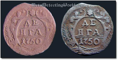 Copper Coin Before & After Patination