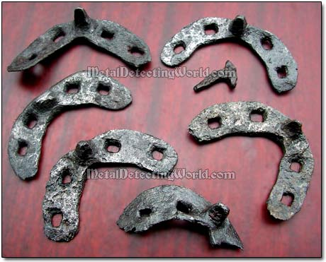 Medieval Horseshoes After Being Cleaned with Electrolysis
