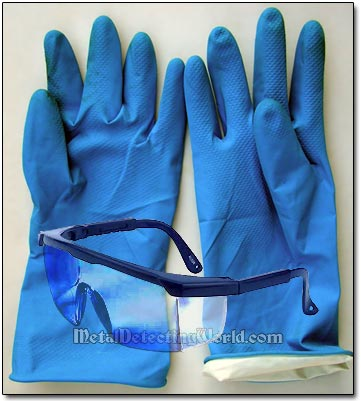 Protective Heavy Duty Rubber Gloves & Safety Glasses