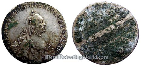 1764 Poltina Coin Before Being Cleaned