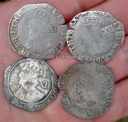 Silver Shillings (Obverses) of King Charles 1st