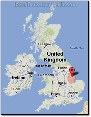 Location of Lincolnshire, England, Where Dave Metal Detects