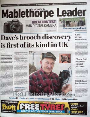 A Front Page Article On Dave's Unique Find in Mablethorpe & Sutton On Sea Leader Newspaper
