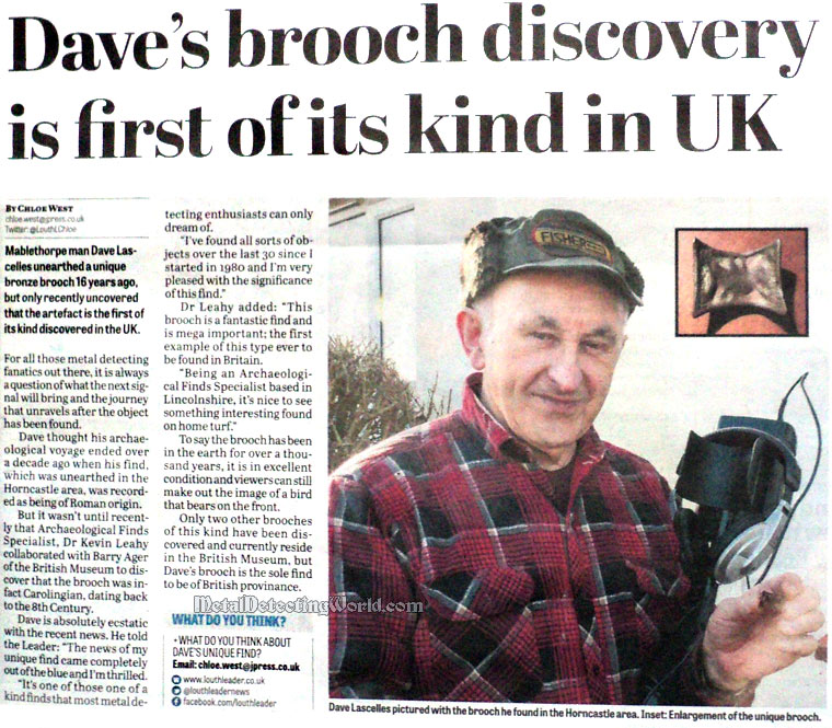 'Dave's Brooch Find Is First of Its Kind in UK' article in Mablethorpe & Sutton On Sea Leader newspaper of February 13, 2013