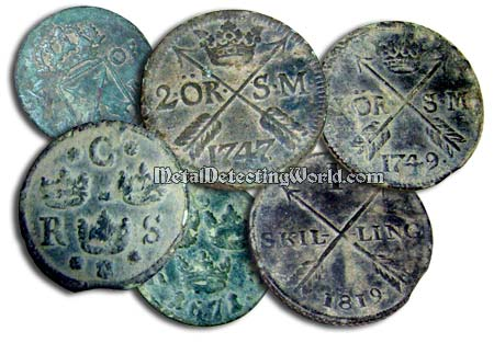 Swedish Copper Coins 17th-19th Century