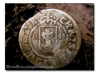 Late Medieval Swedish Hammered Silver Coin 1609 1 �re