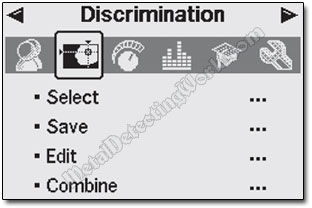 Minelab E-Trac Discrimination Menu