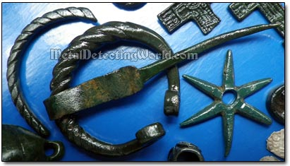 Medieval Penannular Brooch Fibula and Six-Pointed Spur Rowel