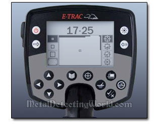 minelab E-Trac Control Panel and Edit Screen