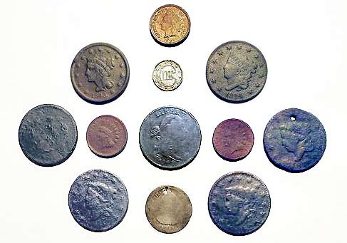 Large Cents & Spanish Real Coins Found at White Spots
