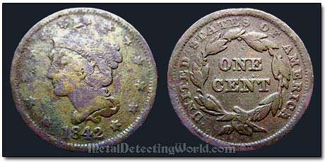 1842 Large Cent Young Head