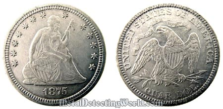 1875 Seated Liberty Silver Quarter
