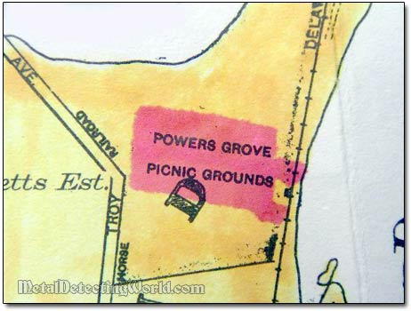 1929 Map Fragment with Picnic Grounds Indicated