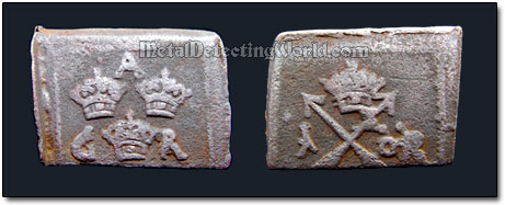 Swedish Rectangular (Clippe or Klippingar) 1625 1 �re Coin of King Gustav II Adolf